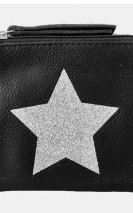 Grain Leather Black Coin Pouch with Silver Star by hydestyle london