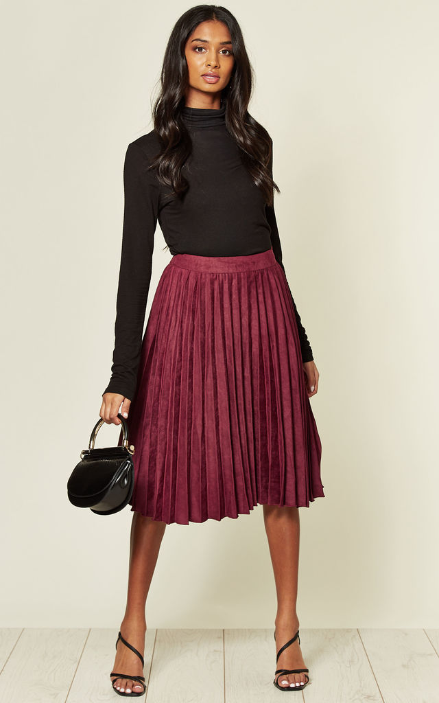 High Waisted Faux Suede Skirt in Wine Red by MISSTRUTH