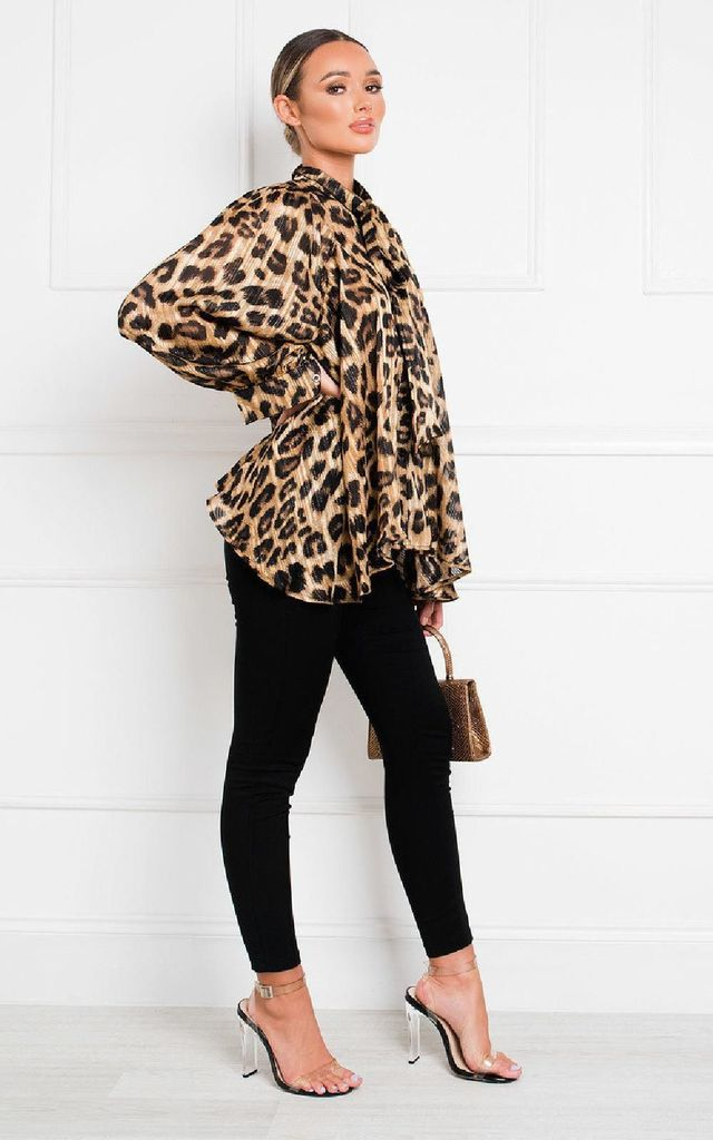 Tianna Tie Front Leopard Print Blouse by IKRUSH