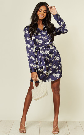 Silky Satin Navy Floral Print Long Sleeve Mini Dress by MISSTRUTH