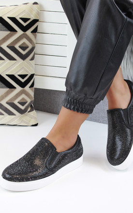 Rita Black Diamante Casual Pumps by Larena Fashion