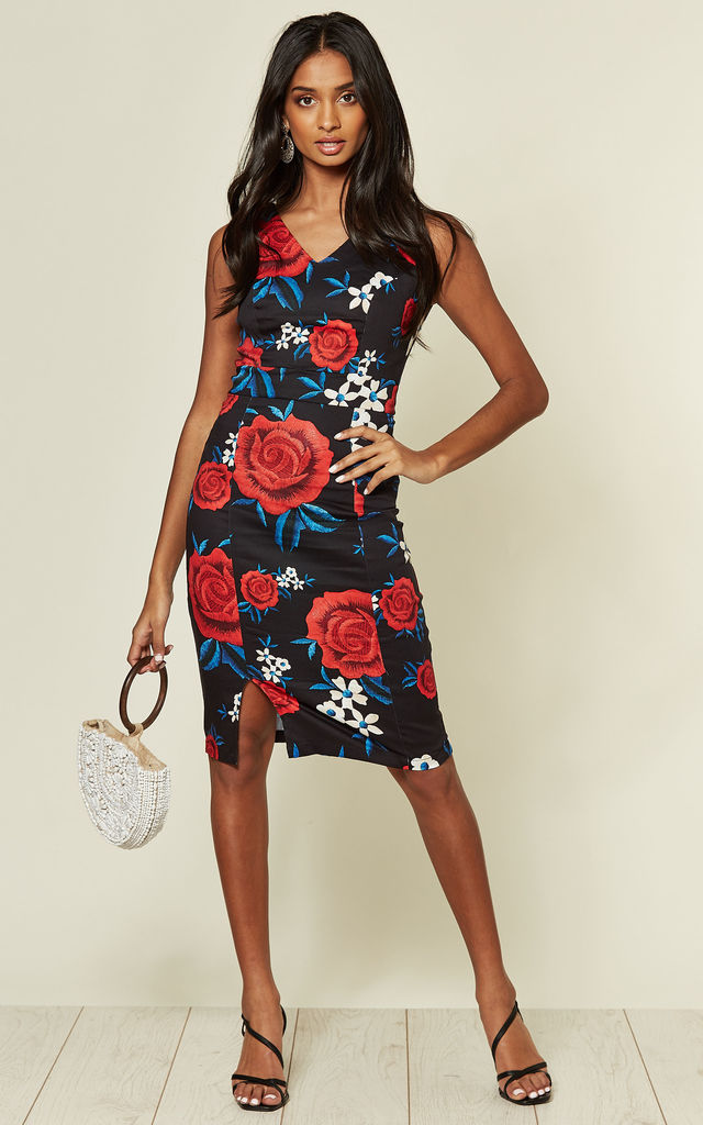 Sleeveless Shift Dress in Navy Rose Print by Hearts and Roses London