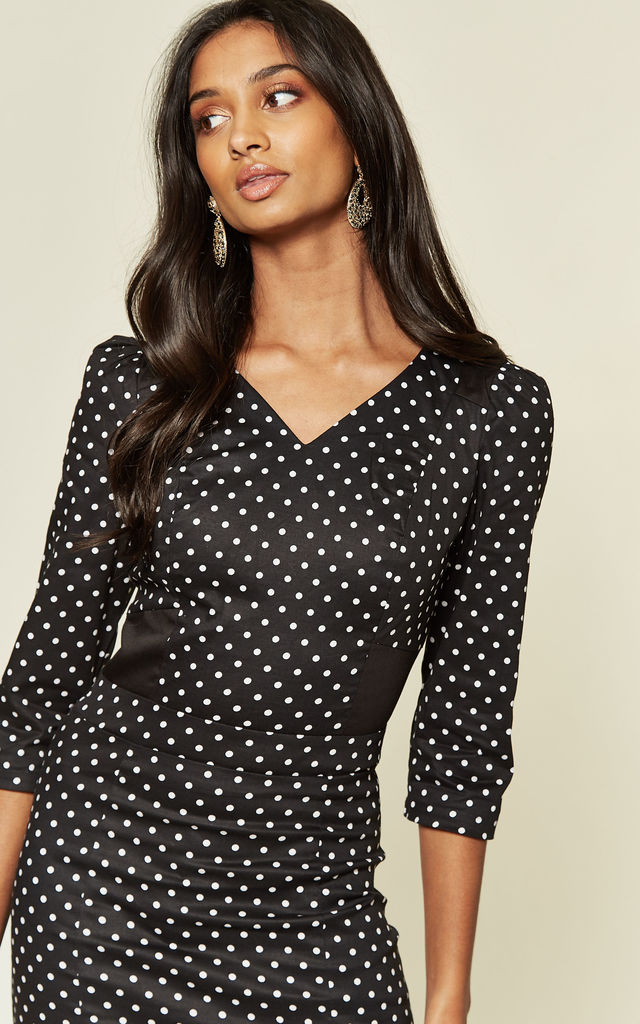 3/4 Sleeve Pencil Dress in Black Polka Dot by Hearts and Roses London