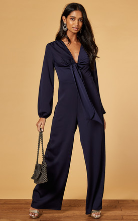 Satin Jumpsuit With Tie Front In Navy by Phoenix & Feather Product photo