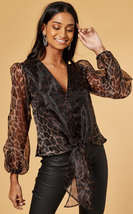 Button Blouse With Tie Front In Organza Leopard by Phoenix & Feather Product photo