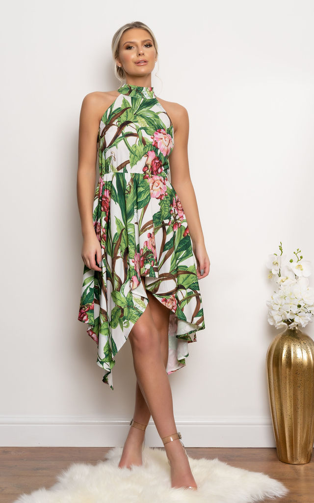 Ivy Asymmetric Dress in Green Tropical Print by Miss Attire