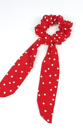 Red Polka Dot Scrunchie Hair Tie by Olivia Divine Jewellery