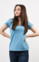 Sparkly V-Neck Tshirt in Blue by Lucy Sparks