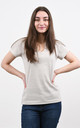 Sparkly V-Neck Tshirt in Cream by Lucy Sparks