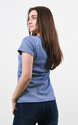 Sparkly V-Neck Tshirt in Navy by Lucy Sparks