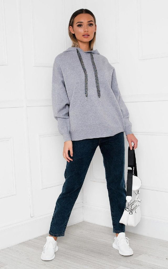 Jessie Grey Oversized Hoodie with Embellished Wings by IKRUSH