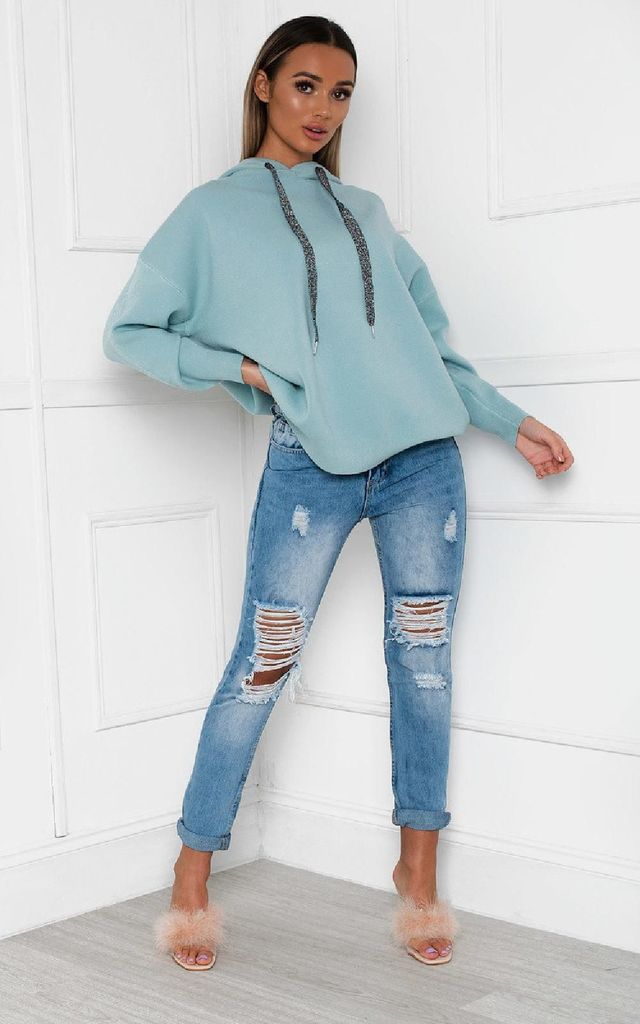 Jessie Turquoise Oversized Hoodie with Embellished Wings by IKRUSH