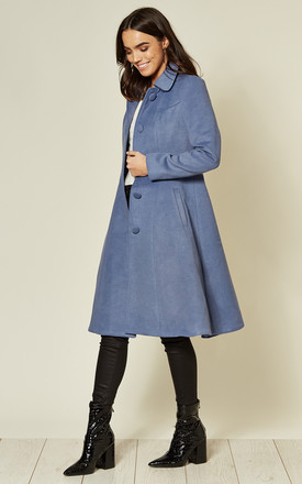 Single Breasted Skater Coat in Blue by Hearts and Roses London