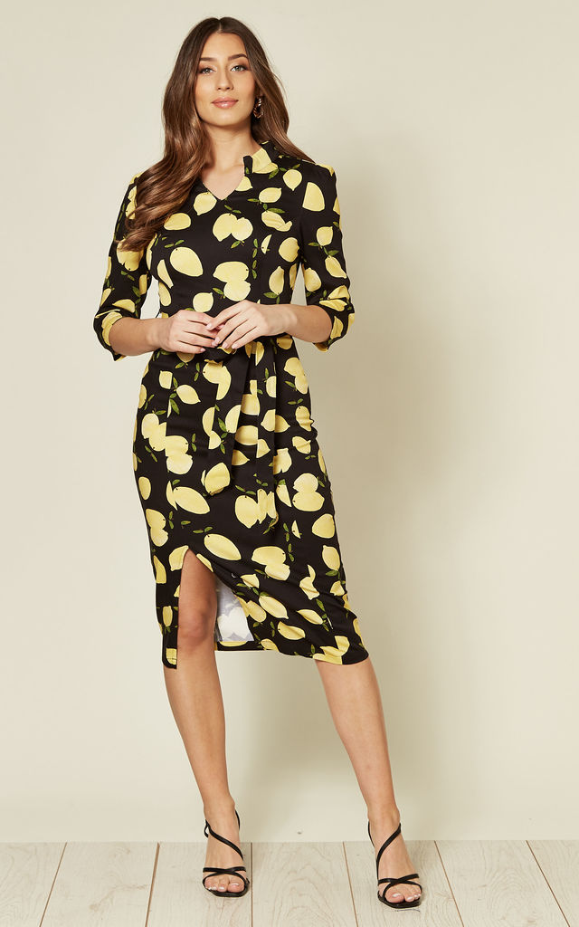3/4 Sleeve Belted Pencil Dress in Black Lemon Print by Hearts and Roses London
