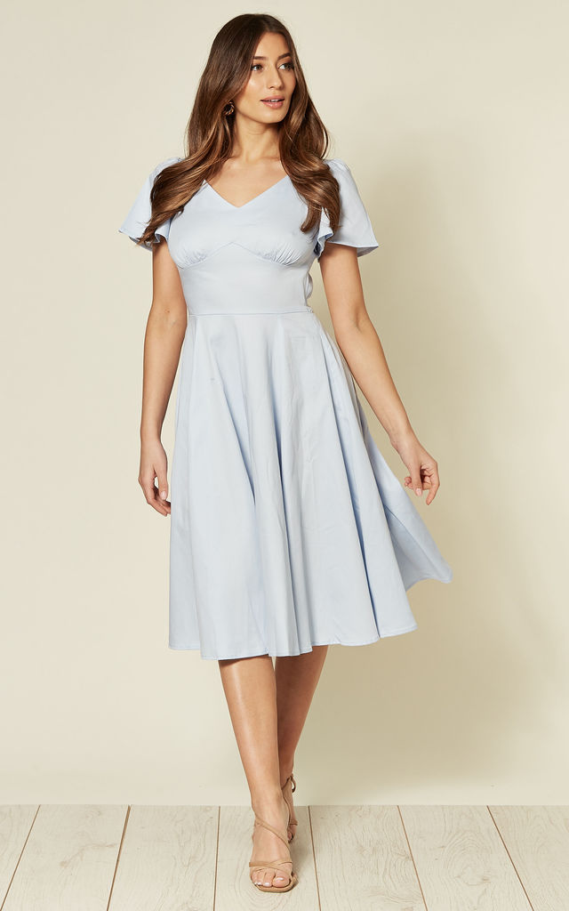 Short Sleeve Midi Skater Dress in Baby Blue by Hearts and Roses London