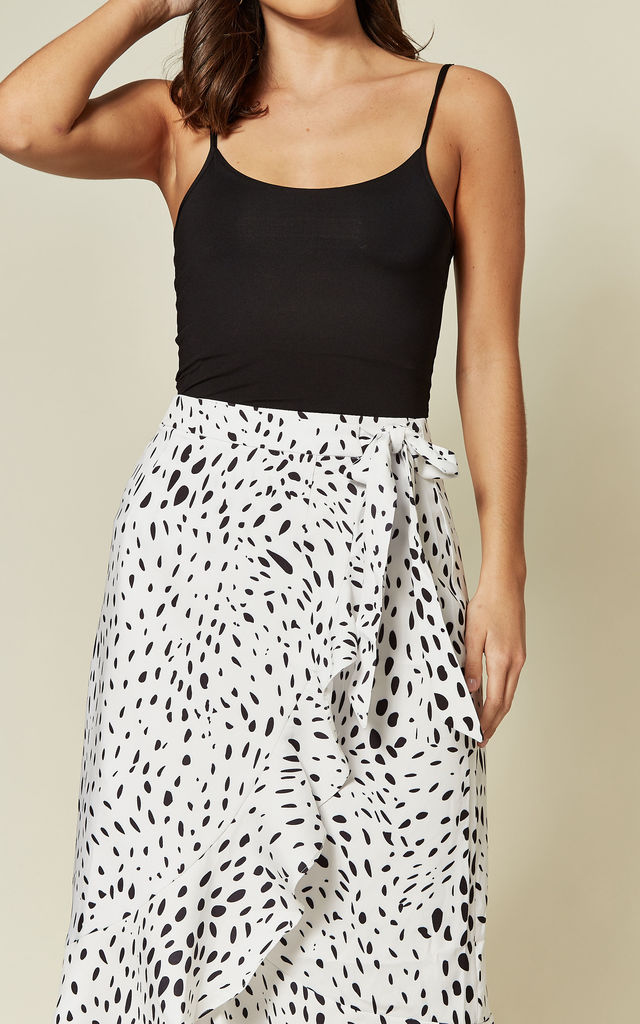 Ruffle Wrap Midi Skirt in Dalmation Print by Glamorous