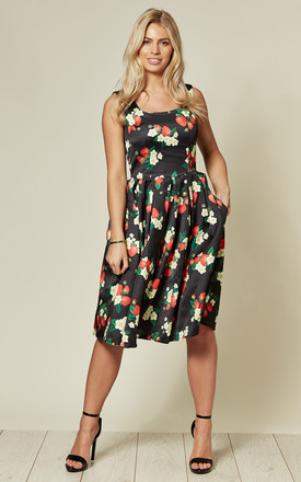 Sleeveless Flared Dress in Black Floral Strawberry Print by dolly and dotty
