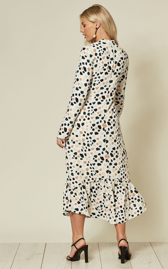 Long Sleeve High Neck Midi Dress in Dalmation Print by Glamorous