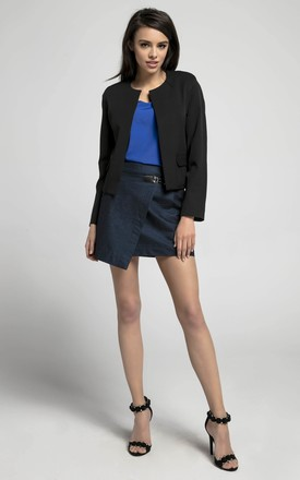 Open Front Jacket with Pockets in Black by By Ooh La La