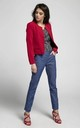 Open Front Jacket with Pockets in Red by By Ooh La La