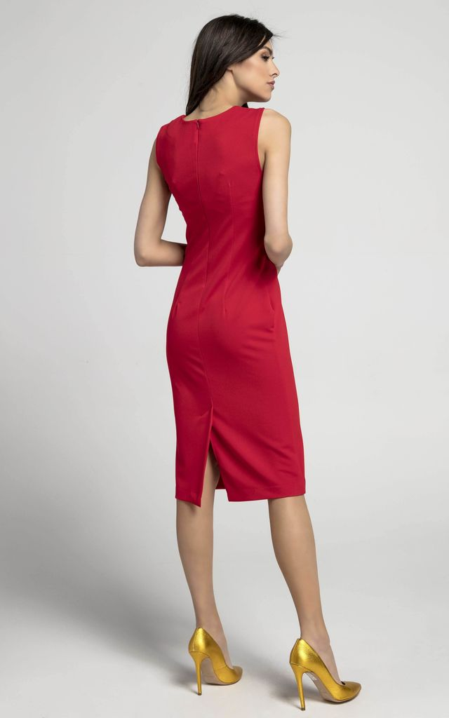 Sleeveless Pencil Dress in Red by By Ooh La La