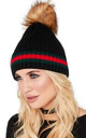 BLACK STRIPED BEANIE HAT with FAUX FUR POM POM by LOES House
