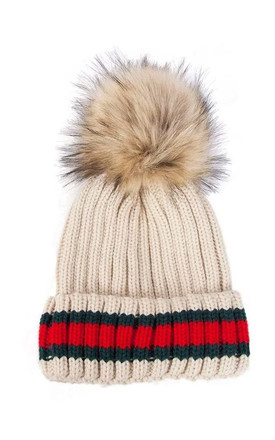BEIGE STRIPED BEANIE HAT with FAUX FUR POM POM by LOES House