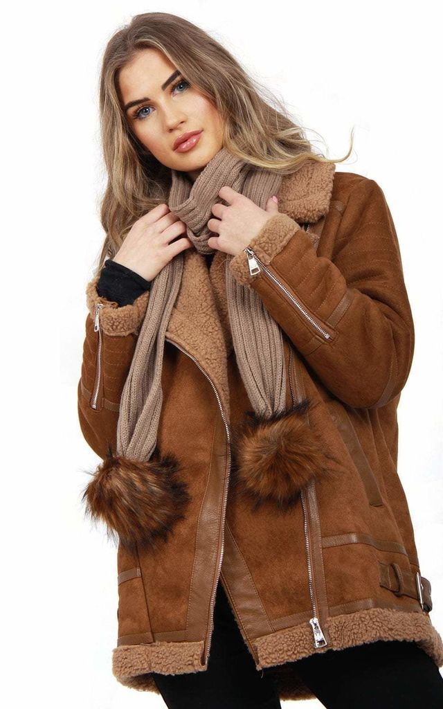 OVERSIZED FAUX SUEDE SHEARLING JACKET in Camel by LOES House