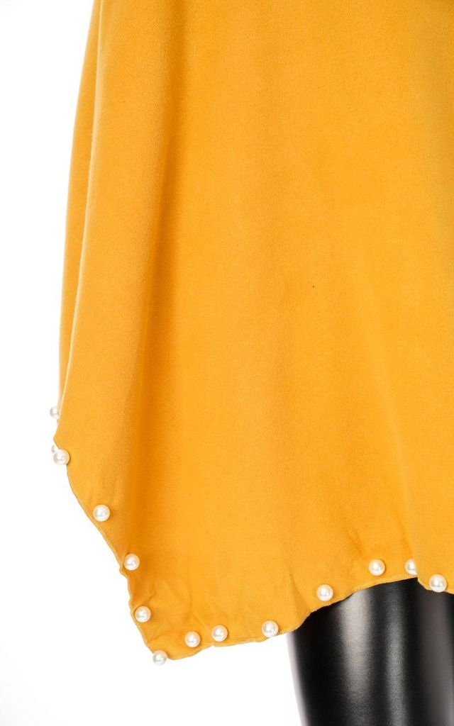 MUSTARD OVERSIZED FELT PONCHO WITH PEARL DETAIL by LOES House
