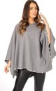 LIGHT GREY OVERSIZED FELT PONCHO WITH PEARL DETAIL by LOES House
