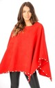 CORAL OVERSIZED FELT PONCHO WITH PEARL DETAIL by LOES House