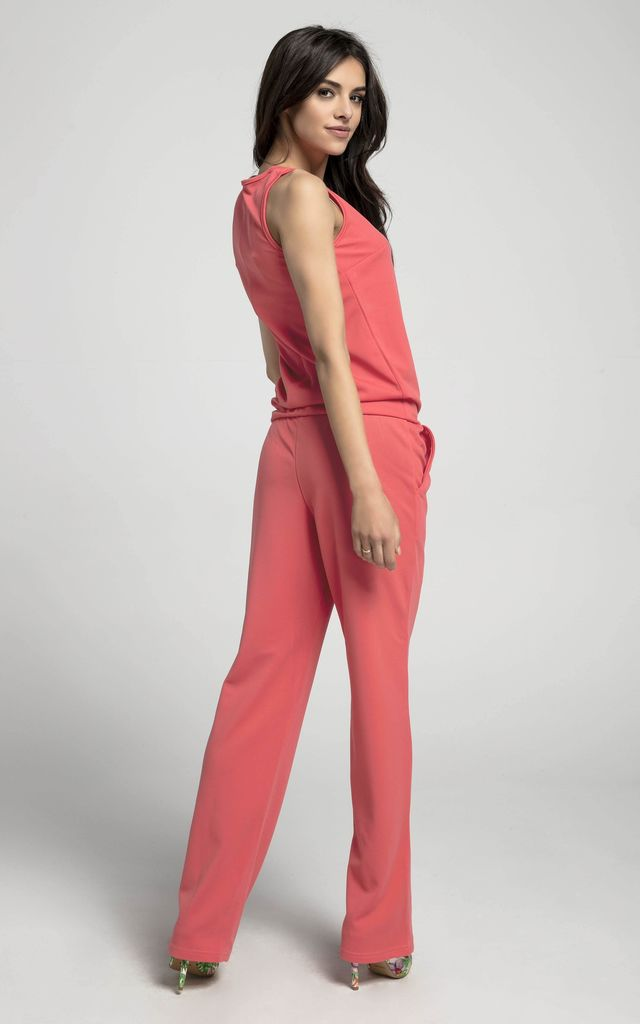 Relaxed Fit Sleeveless Jumpsuit in Pink by By Ooh La La