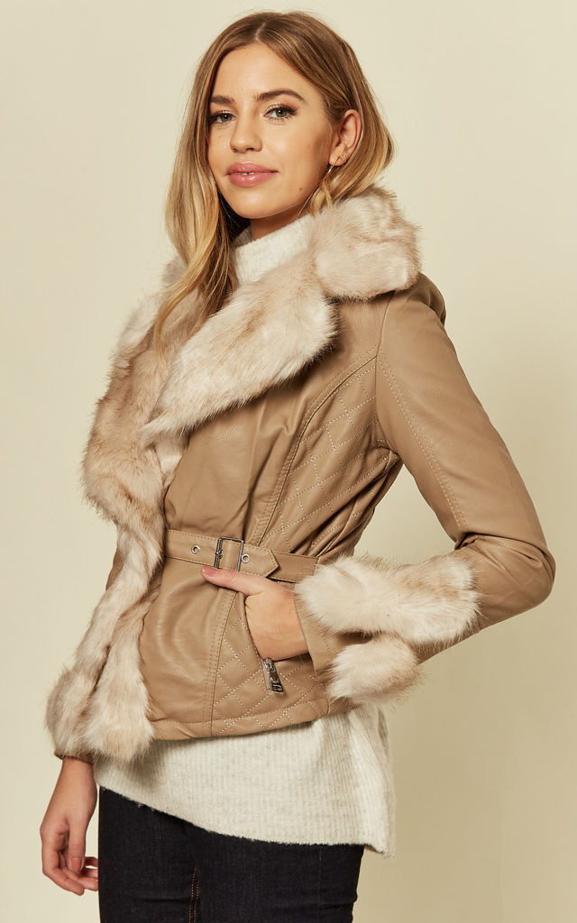 Faux fur leather jacket with tie in Beige by LOES House