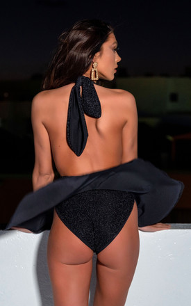 BLACK SPARKLE HALTER NECK SWIMSUIT WITH PEPLUM SKIRT by THE GLAMBASSADORS™ RESORTWEAR