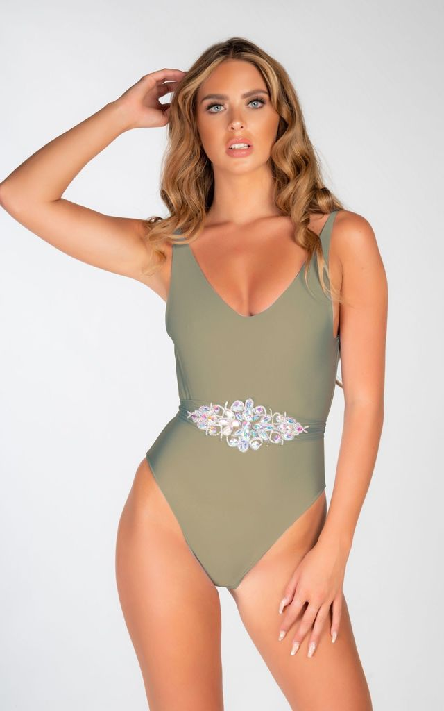 WHITE SCOOP BACK SWIMSUIT WITH JEWEL TIE WAIST by THE GLAMBASSADORS™ RESORTWEAR