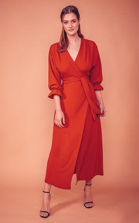 Mary Max Wrap Dress In Rust by COCOOVE Product photo