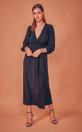 Lilody Long Sleeve Maxi Wrap Dress In Black With Print Cuff by CocooVe Product photo