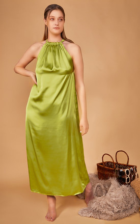 Isla Maxi Dress Silky Satin In Lime by CocooVe Product photo