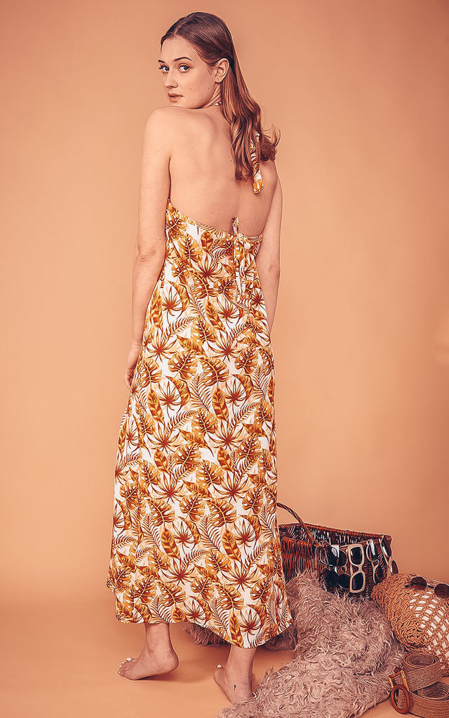 Lullah Halterneck Maxi Dress in Brown Leaf Print by COCOOVE