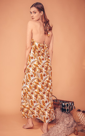 Lullah Halterneck Maxi Dress In Brown Leaf Print by CocooVe Product photo
