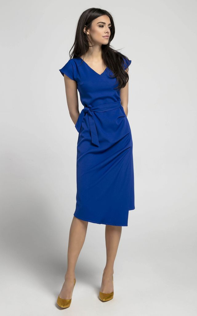 Blue Cap Sleeve Midi Dress with Tie Waist by By Ooh La La