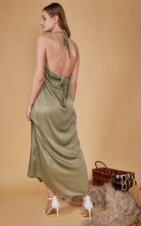 Lullah Halterneck Maxi Dress In Sage Green by COCOOVE Product photo