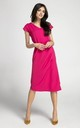 Pink Cap Sleeve Midi Dress with Tie Waist by By Ooh La La