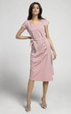 Powder Pink Cap Sleeve Midi Dress with Tie Waist by By Ooh La La