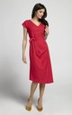 Red Cap Sleeve Midi Dress with Tie Waist by By Ooh La La
