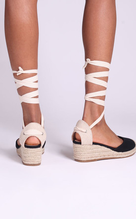 Melrose Black Canvas Espadrille Wedges With Tie Up Straps by Linzi