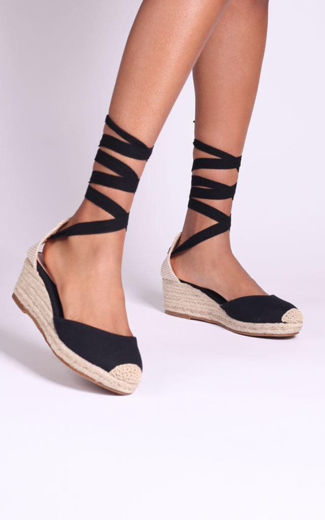Melrose All Black Canvas Espadrille Wedges With Tie Up Straps by Linzi