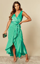 WRAP FRONT MAXI DRESS GREEN by FLOUNCE LONDON