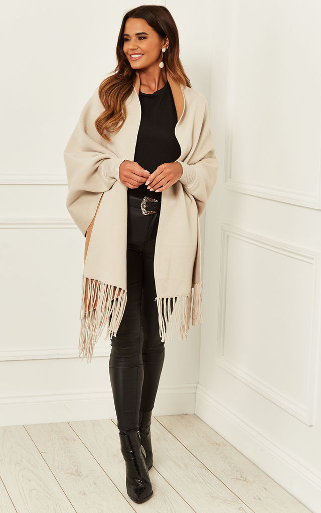 Reversible Fringe Hem Cape in Cream by Bella and Blue