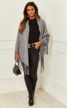 Fringed Shawl With Studded Detail In Grey by Bella and Blue Product photo